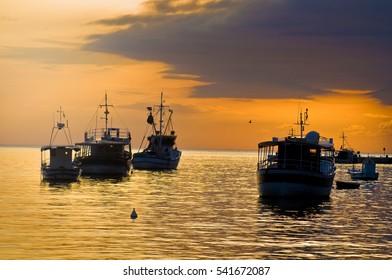 photo of fishing boats in Rovinj Croatia