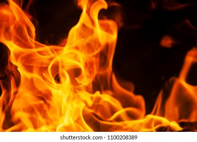Photo of flame texture, fire background, burning close-up, blaze