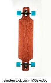 Photo of flat longboards isolated on white background. Flat colorful longboards. Longboard skateboard set isolated on a white background.