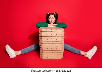 Photo of flirty cute young lady wear green knitted pullover sitting ordered too many pizzas isolated red color background