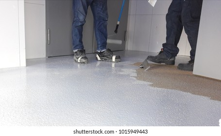 Photo of floor renovated with anty slip epoxy floor preparation first layer with sand and top up with anty slip hardener