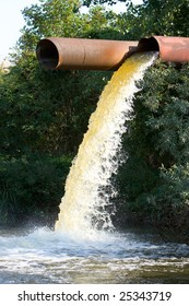 Photo of flow out water from the conduit to the river