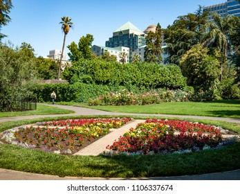 A photo of a flower garden with red flowers in the shape of a circle with cross, located in Capitol Park in Sacramento, California.