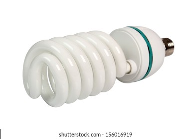 Photo Fluorescent Daylight Energy Saving Light Bulb Spiral 5500K. Isolated with clipping path.