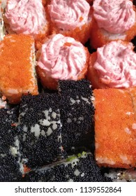 Photo of food. Dinner. Different Japanese sushi.