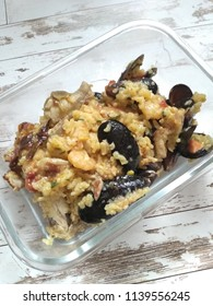 Photo of food. Dinner. Paella with seafood.