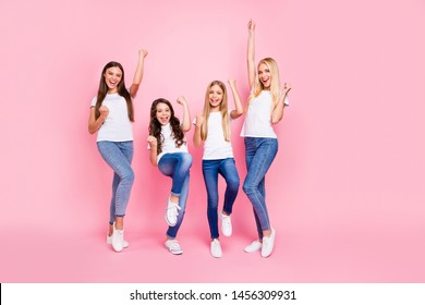 Photo of four different age ladies got achievement wear casual outfit isolated pink background