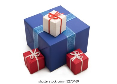 a photo of four gift boxes over white