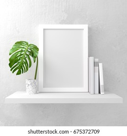 A photo frame mock up on a white shelf. Clean and minimal design. 3D render illustration