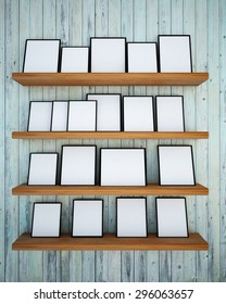 Photo frame on the old wood wall and wood shelf