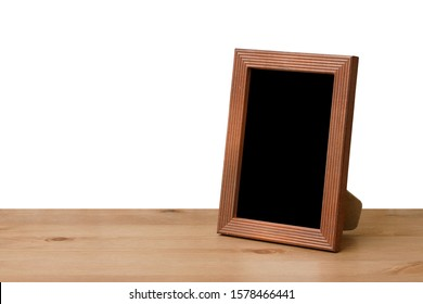 photo frame on table, white backgroud, isolated with clipping path.