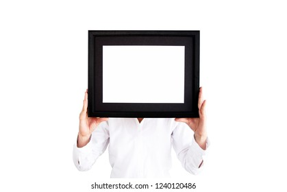 Photo frame on woman hand with isolate background. Woman in white shirt holding a photo frame. Empty picture frame on isolate background. Copy space for text. holiday, Happy New Yea, Birthday,