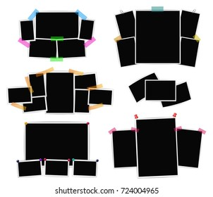 Photo frames collage set on white background. raster design templates for retro images, photographs, album, cards