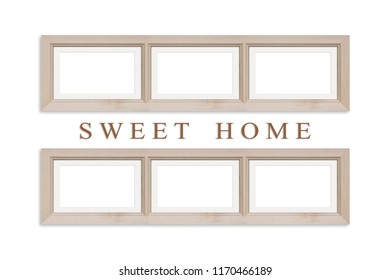 Photo frames for six sweet home, family pictures collage. Interior decor mock up