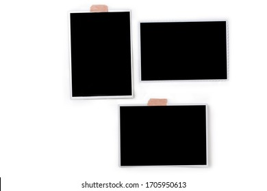 photo frames. Square frame template with shadows isolated on transparent background.