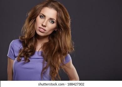 Photo of a fresh beautiful woman, studio shoot