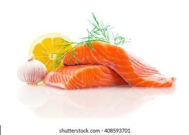 Photo of fresh tasty salmon over white isolated background