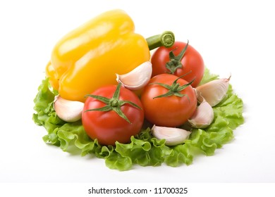 a photo of fresh vegetables on a list of salad