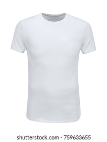 Photo of front view of white t-shirt on white background with paths