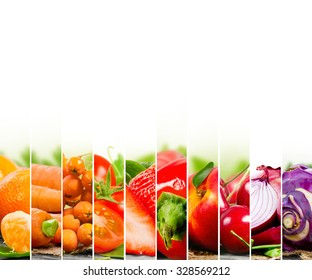 Photo of fruit and vegetable mix with orange and red colors and white space