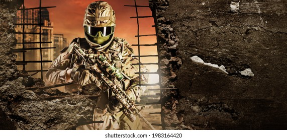Photo of fully equipped soldier in heavy level 3 armor ammunition standing on red destructed city battlefield background with destructed walls copyspace backdrop.
