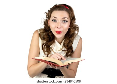 Photo of fun pinup woman reading book on white background