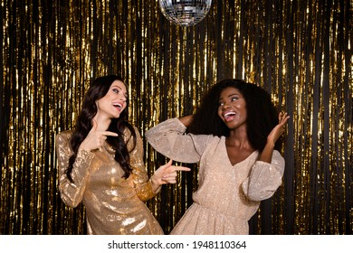 Photo of funky glamour nice ladies dance wear sequins dress prom party isolated on shine bright tinsel background