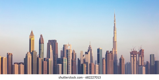 Photo Of Futuristic Dubai Downtown Skyline At Sunset