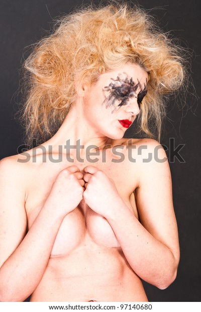 Photo of futuristic  woman with blond hair