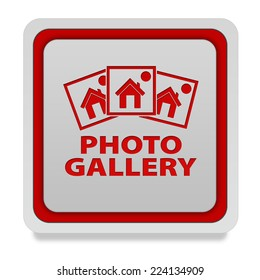 Photo gallery square icon on white background