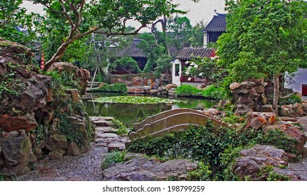 Photo of a garden in Suzhou near Shanghai, China, stylized and filtered to resemble an oil painting.