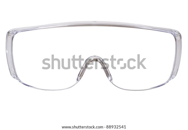 photo gauzy protective spectacles on white background isolated, close up full face