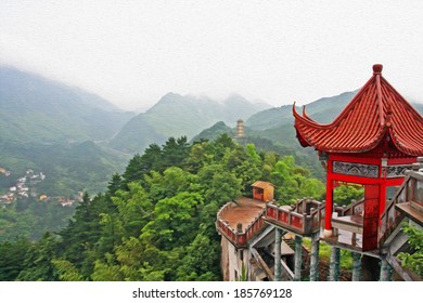 photo of generic chinese landscape with red pavilion, misty mountains and golden pagoda in the distance, stylized and filtered to look like an oil painting. Location - Jiuhua Shan, Anhui province.