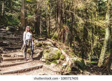 Photo of Girl at Baden Powell Trail near Quarry Rock at North Vancouver, BC, Canada