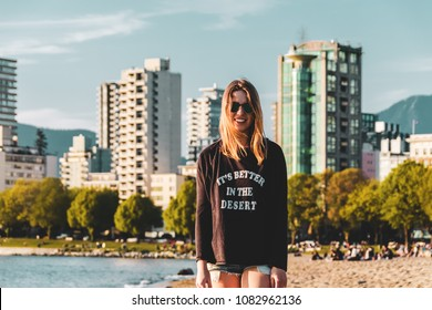 Photo of Girl at English Bay Beach in Vancouver, BC, Canada