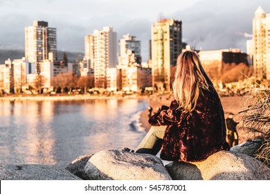 Photo of Girl at English Bay Beach Park in Vancouver, Canada