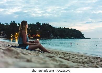 Photo of Girl at Karon Beach in Phuket Island, Thailand