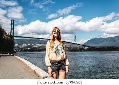 Photo of Girl at Lions Gate Bridge in Vancouver, BC, Canada