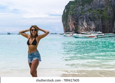 "Photo of Girl at Maya Bay (""The Beach"") in Phi Phi Islands, Thailand"