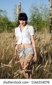 photo of a girl on the background of summer Russian landscapes