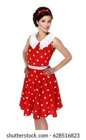 Photo of a girl in a red dress on a white background in the style of pin-up