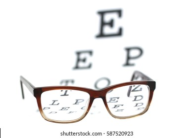 A photo of glasses with an eye chart being seen through the lenses
