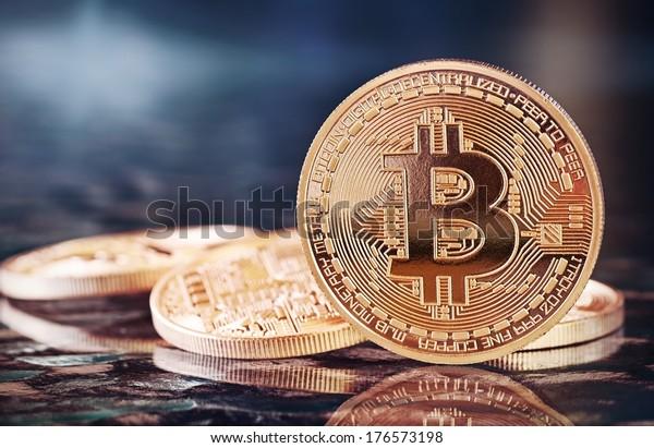 Foto Golden Bitcoins (neues virtuelles Geld)