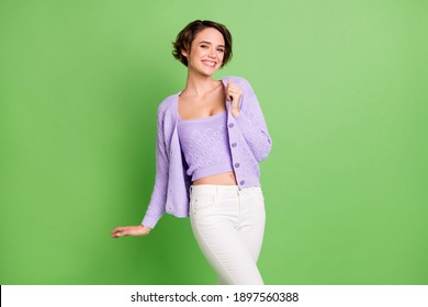 Photo of gorgeous person hand touch clothing toothy smile look camera isolated on green color background