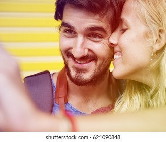 Photo Gradient Style with Couple taking a sweet mobile selfie