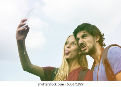 Photo Gradient Style with Couple taking a wacky selfie tongue out