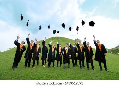Photo of graduation with college friends in Blambangan Hill, Jogotirto, Berbah, Sleman Regency, Yogyakarta Special Region 02-07-2018
