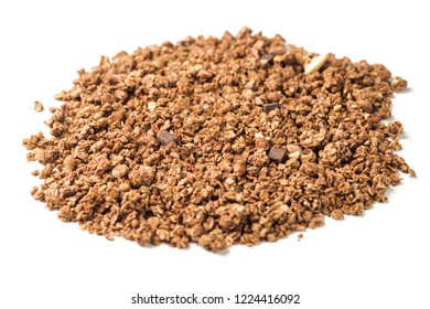 Photo of granola pile isolated on white background, muesli texture, chokolate and cashew nuts pattern, cereal grain for good health