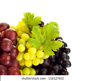 Photo of grapes variety, different kind of vine, colors grape border, three bunch of grapes isolated on white background, tasty blue juicy fruits, sweet fresh red berry with green leaves