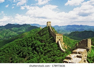 Photo of the Great Wall of China at Jinshanling stylized and filtered to look like an oil painting with blue sky and mountains in background.